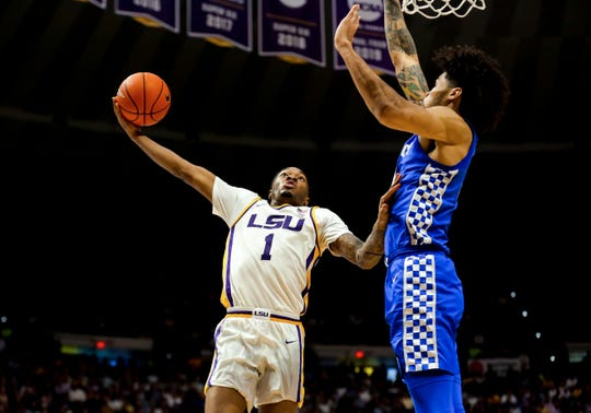 Feb 18, 2020; Baton Rouge, Louisiana, USA;  LSU Tigers guard Javonte Smart (1) shoots over Kentucky Wildcats forward Nick Richards (4) during the first half at the Maravich Assembly Center. Mandatory Credit: Derick E. Hingle-USA TODAY Sports