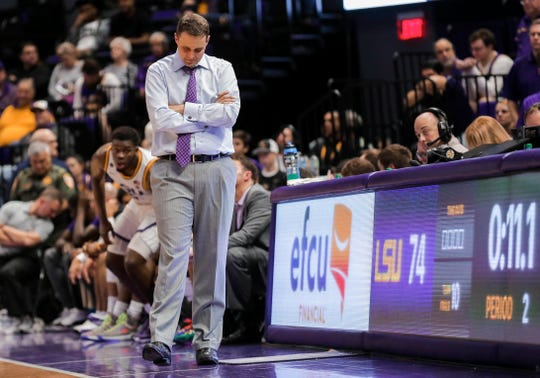 Feb 18, 2020; Baton Rouge, Louisiana, USA; LSU Tigers head coach Will Wade reacts in the final seconds of a 79-76 loss against the Kentucky Wildcats at the Maravich Assembly Center. Mandatory Credit: Derick E. Hingle-USA TODAY Sports