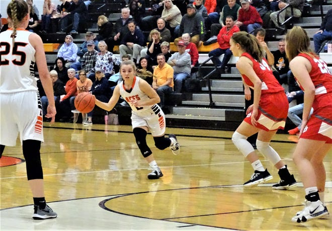 Amanda-Clearcreek's Kilynn Guiler dribbles the ball against Johnstown during the Aces' 38-34 Division III tournament win Tuesday night.