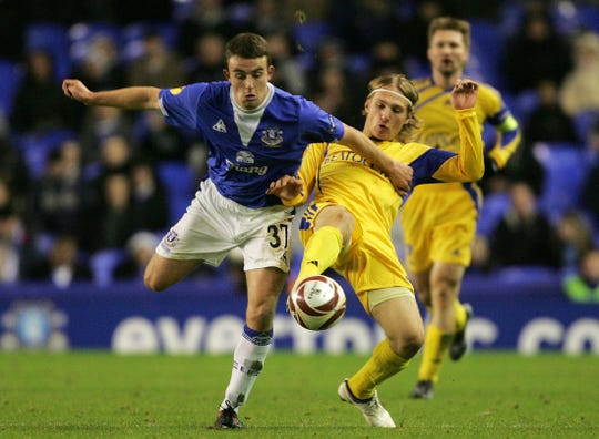 Jose Baxter, left, seen here playing for Everton in a 2009 Europa League match against BATE Borisov at Goodison Park in Liverpool, England, has signed with Memphis 901 FC. Baxter joins the USL club shortly before the start of the 2020 season.