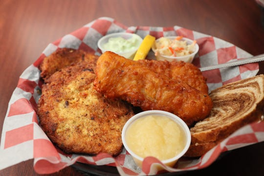 Fish fry like this cod can be ordered with the house potato pancakes instead of the standard, the house potato chips, at the North Lake Bear Trap in Waukesha County.