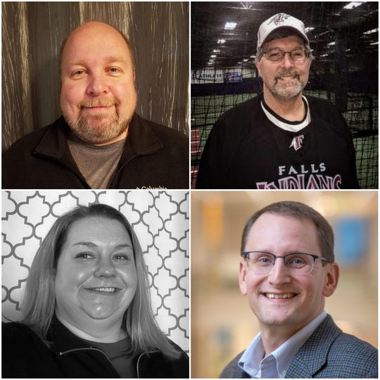 Eric Pelzer (upper left, clockwise), Robert Dekoning,  incumbent Mark Nadolski and Melinda McShane advanced to the April general election.