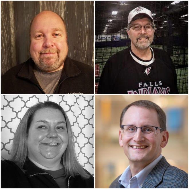 Eric Pelzer (upper left, clockwise), Robert Dekoning,  incumbent Mark Nadolski and Melinda McShane advanced to the April general election.