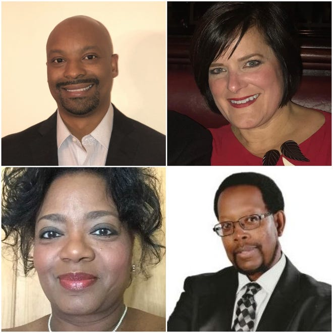 The four Brown Deer trustee candidates to advance to the April election are, pictured clockwise from top right, Trustee Julie Cook Quirk, Amos Owens, Alice Belcher and Rob Cherry.