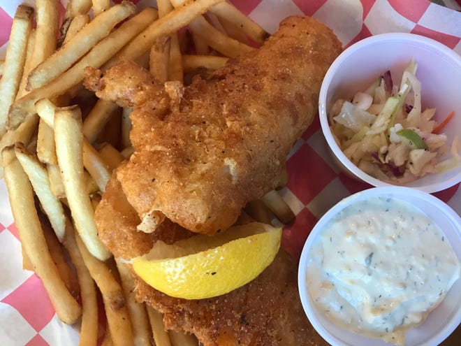 The Raised Grain Brewing Co. Taproom on Dolphin Drive in Waukesha serves well-seasoned cod (in beer batter, naturally) with fries and an oil-and-vinegar slaw.