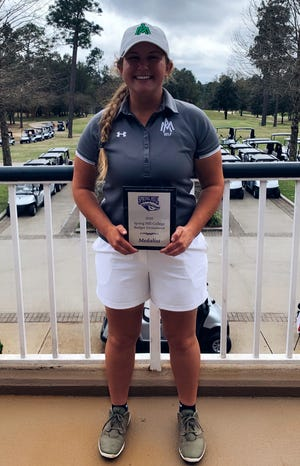 Mountain Home's Leah Rowe, a senior on the Arkansas-Monticello women's golf team, won the Spring Hill College Badger Invitational held Monday and Tuesday in Mobile, Ala.