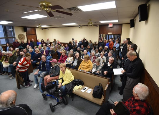 A standing room only crowd gathers in the Council Chambers at Mountain Home City Hall on Tuesday night. More than 100 Twin Lakes Area residents packed the room to discuss a proposed parks plan that would include the construction of a combination community/aquatic center.