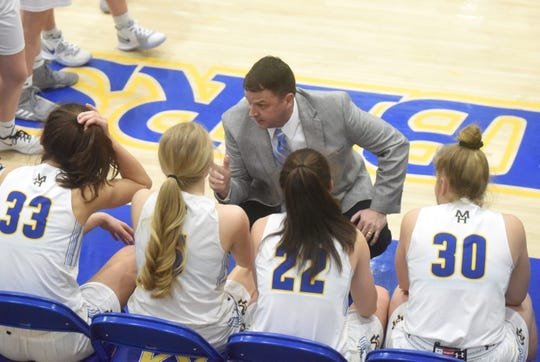 Mountain Home Lady Bomber head coach Dell Leonard instructs his players before tip-off against Marion on Tuesday night.