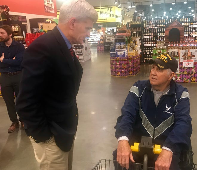 U.S. Sen. Bill Cassidy, R-La., kicked of his 2020 reelection campaign Wednesday at a Rouses Supermarket in Denham Springs. He is pictured here talking to a Vietnam veteran.