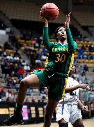 Central-Hayneville's Derrica McCall (30) shoots against Aliceville in AHSAA regional action in Montgomery, Ala., on Wednesday February 19, 2020.