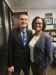 Matthew Peiffer with Terry Stigdon, director of the Indiana Department of Child Services.