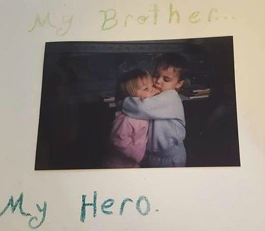 A photo of Matthew Peiffer and his younger sister. For 13 years, Peiffer and his sisters were victims of abuse until they were placed back into the foster care in 2013.