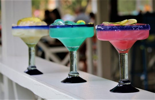Three new tropical margaritas at Bahama Breeze: coconut-pineapple, blue curacao and dragon fruit