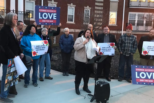 Blyth Barnow, the Harm Reduction faith manager at Faith and Public Life in Ohio, speaks  in support of syringe exchange programs Tuesday at the Licking County Health Department.