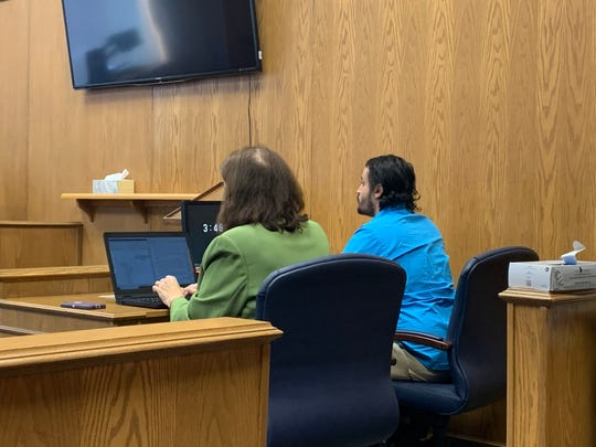 Max Vazquez (right) sits beside his attorney, Kristin Burkett, while Judge David Branstool gives his verdict following a one-day bench trial in Licking County Common Pleas Court on Wednesday, Feb. 19, 2020. Vazquez was convicted of multiple felony drug possession charges, but acquitted of drug trafficking charges.