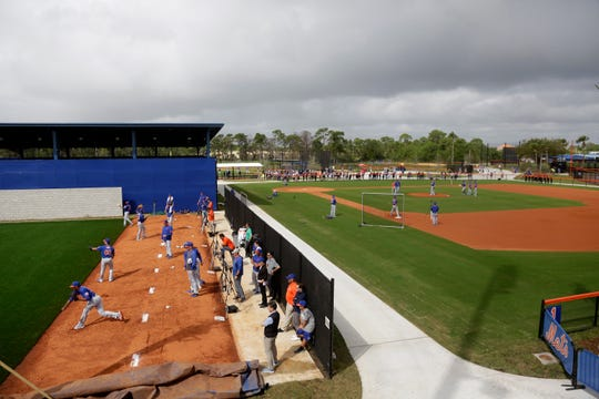 New York Mets workout during spring training baseball practice Saturday, Feb. 15, 2020, in Port St. Lucie, Fla.