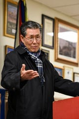 Kee Jung Kim speaks during a press conference to extend benefits for Korean American veterans at Fort Lee VFW Post on Wednesday February 19, 2020.