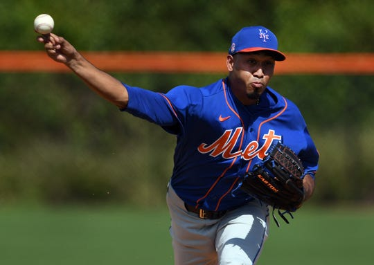 Feb 18, 2020; Port St. Lucie, Florida, USA; New York Mets pitcher Edwin Diaz warms-up during workouts at spring training.