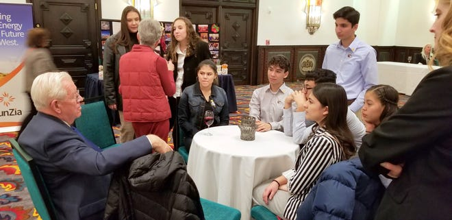 Students from Early College High School and Deming High School visited with New Mexico Senator John Arthur Smith (D-Deming) in collaboration with the New Mexico Legislative Committee on House Bill 118 regarding benefit corporations.A benefit corporation is, in short, a nonprofit that allows for profits. It is a corporation that makes profits but has to benefit the community in which it serves, in either the services it provides or the encouragement and payment for employees who volunteer through community service.The students were from Ms. Rachel Bailey's ECHS Language Arts Class and Mrs. Grace Flores' DHS Language Arts Class.
