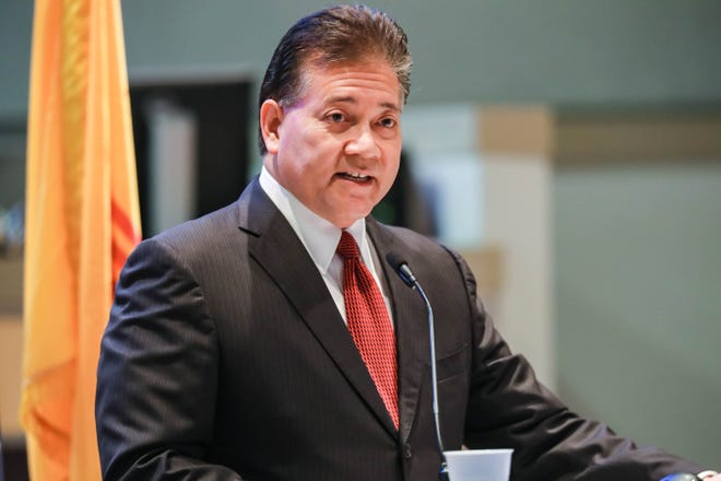Las Cruces Mayor Ken Miyagishima delivers his State of the City Address at the Las Cruces City Hall on Wednesday, Feb. 19, 2020.