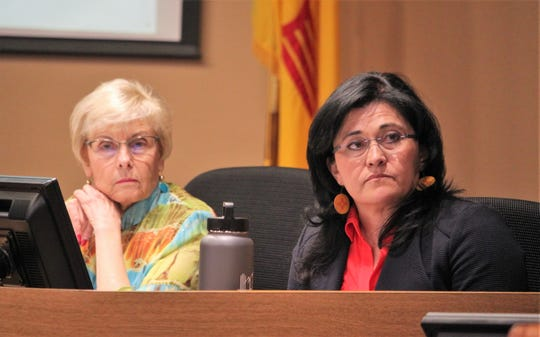 From left, Las Cruces Board of Education member Carol Cooper and Las Cruces Public Schools Superintendent Karen Trujillo during the school board meeting on Tuesday, Feb. 18. 2020.