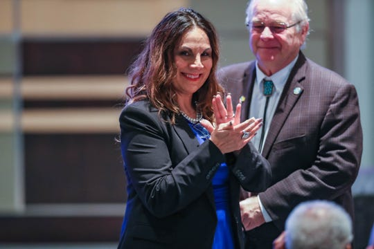 Las Cruces City Councilor Kasandra Gandara at the State of the City Address at the Las Cruces City Hall on Wednesday, Feb. 19, 2020.