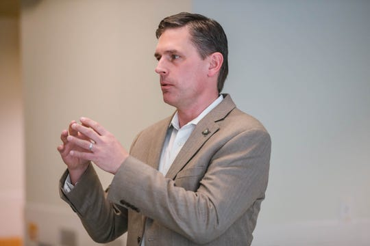 U.S. Senator Martin Heinrich, D-NM, visits Centennial High School to speak with students about renewable energy in Las Cruces on Wednesday, Feb. 19, 2020.