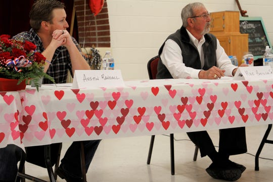 Incumbent Commissioner Austin Randall and former mayor Michael Padilla Sr. participate in a candidate forum, Tuesday, Feb. 18, 2020, in Aztec.