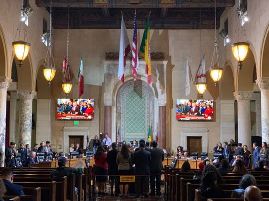 Navajo Nation President Jonathan Nez was part of a delegation from the tribe to attend a Los Angeles City Council meeting on Feb. 19, 2020, to support a feasibility study to examine a partnership between the tribe and the city for solar and renewable energy projects.