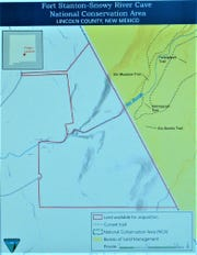 The map shows the land available for acquisition and how it connects to the existing trails at Fort Stanton.