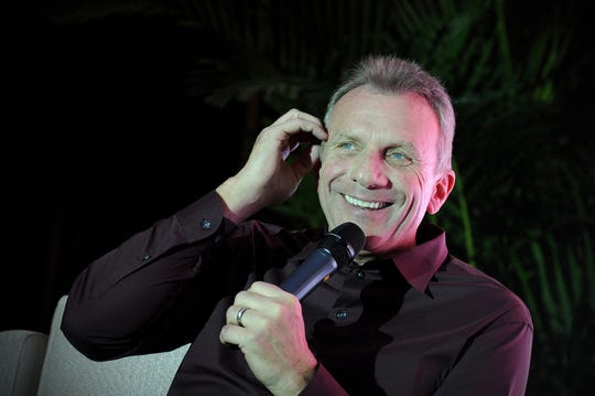 Former NFL quarterback Joe Montana, shown here speaking at a conference in Beijing on November 18, 2013, spoke Wednesday in Rancho Mirage.