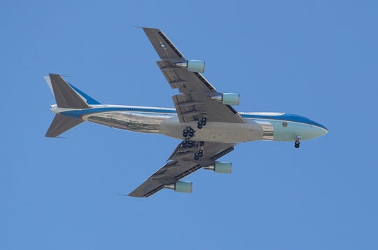 Air Force One flies over Rancho Mirage for President Trump's visit to the Coachella Valley, February 19, 2020.