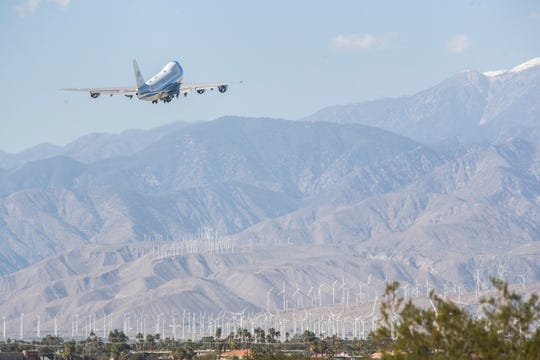 Air Force One departs Palm Springs International Airport on February 19, 2020. President Trump Visited Porcupine Creek estate in Rancho Mirage for a fundraiser earlier in the day.