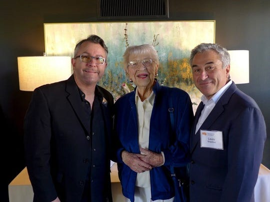 Event chair Rand Baker and Louis Grachos, Palm Springs Art Museum's executive director and CEO, share a moment with honoree Jane Hoff.