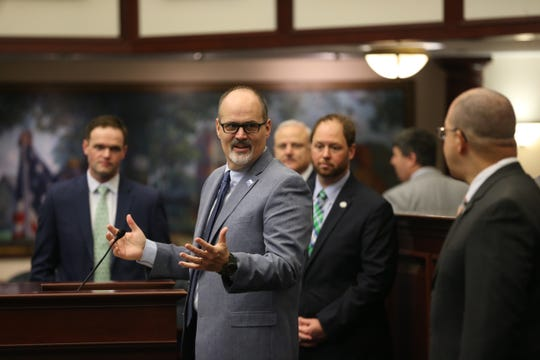 University of West Florida head football coach Pete Shinnick speaks to his team and others as they visit the state Capitol Wednesday, Feb. 19, 2020 in recognition of the team's 2019 NCAA Division II national championship. UWF won the title in its fourth season of football, defeating Minnesota State 48-40 on Dec. 21, 2019, in McKinney, Texas.