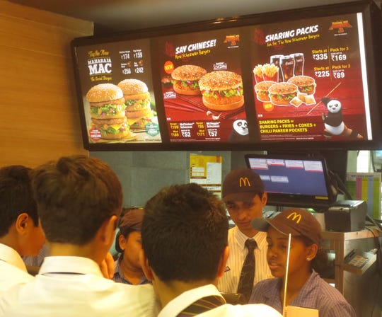 No beef products are served at McDonald's in Mumbai, out of respect for Hindu beliefs. The Maharaja Mac has chicken patties.