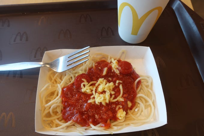 McSpaghetti is on the menu at McDonald's restaurants in the Philippines.