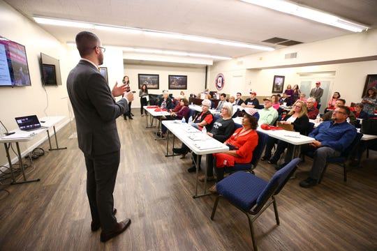 Drew Sexton, state director of Arizona Trump Victory, speaks to volunteers during President Donald Trump's reelection campaign activities at the Arizona Republican Party headquarters on Feb. 18, 2020, in Phoenix.