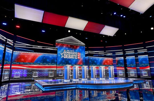 Así luce el escenario en Las Vegas, Nevada, donde volverán a debatir los precandidatos demócratas.
