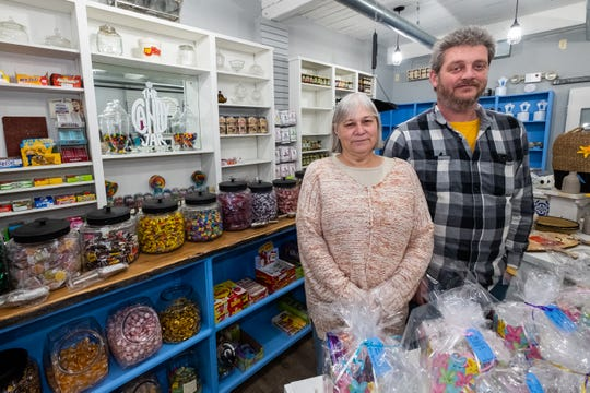 Owners Bob and Janice Ahee, photographed Tuesday, Feb. 18, 2020, inside bluewatergiftshop in Marine City. The couple, who also own Back Porch Antiques and The Candy Jar, plan to have a grand opening for the store March 1.