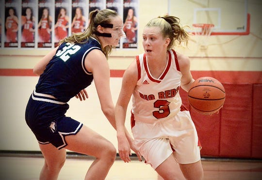 Port Huron's Madison Landschoot dribbles against Macomb Dakota during a Macomb Area Conference Red/White girls basketball tournament game on Tuesday, Feb. 18, 2020.