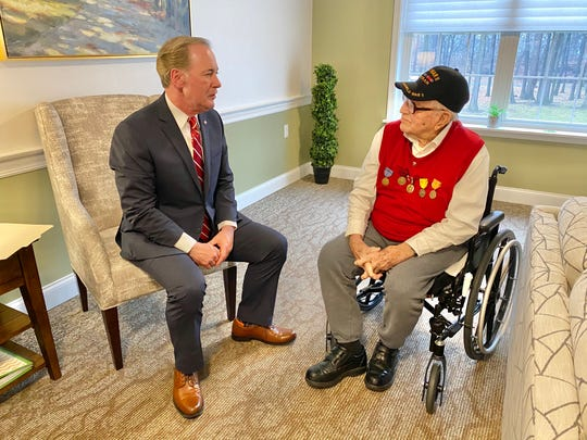 Congressman John Joyce is pictured with World War II veteran Richard Boyer, 99, at Providence Place in Chambersburg after presenting a replacement set of military medals that had been lost over the years.