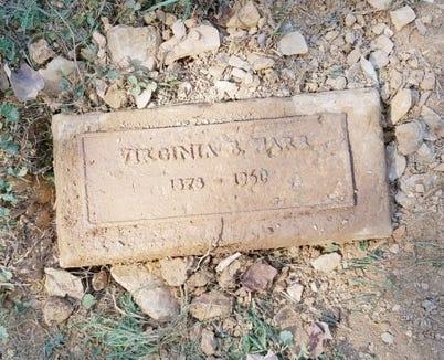Virginia Harr's marker in Lebanon Cemetery in September.