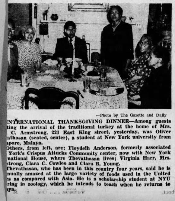 Virginia Harr joins friends at a Thanksgiving dinner in 1950.