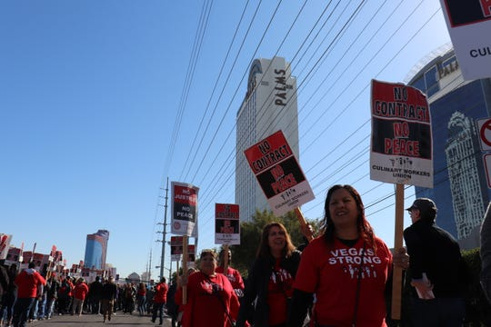 Culinary Union workers picket outside The Palms in Las Vegas on Feb. 18, 2020.