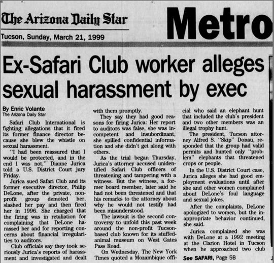 A March 21, 1999 clip from an Arizona Daily Star article about the lawsuit against Safari Club International and its former executive director, Phil DeLone.