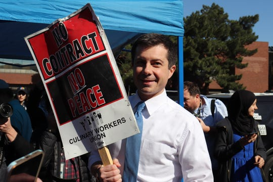 Former South Bend Mayor Pete Buttigieg pickets with Culinary Union workers outside The Palms in Las Vegas on Feb. 18, 2020.