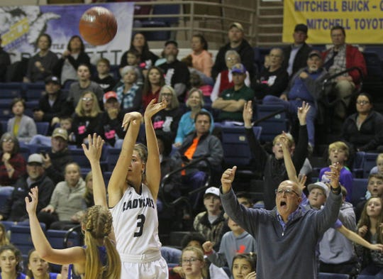 Baily Dawson, second from left, puts up a shot for Water Valley during a game against Eden on Tuesday, Feb. 18, 2020.