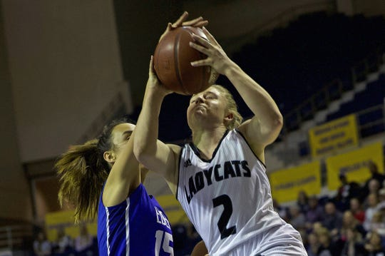 Kirstyn Greebon, right, drives to the basket for Water Valley during a game against Eden on Tuesday, Feb. 18, 2020.