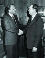 Robert Spence, president of Evangel University, with evangelist Billy Graham.